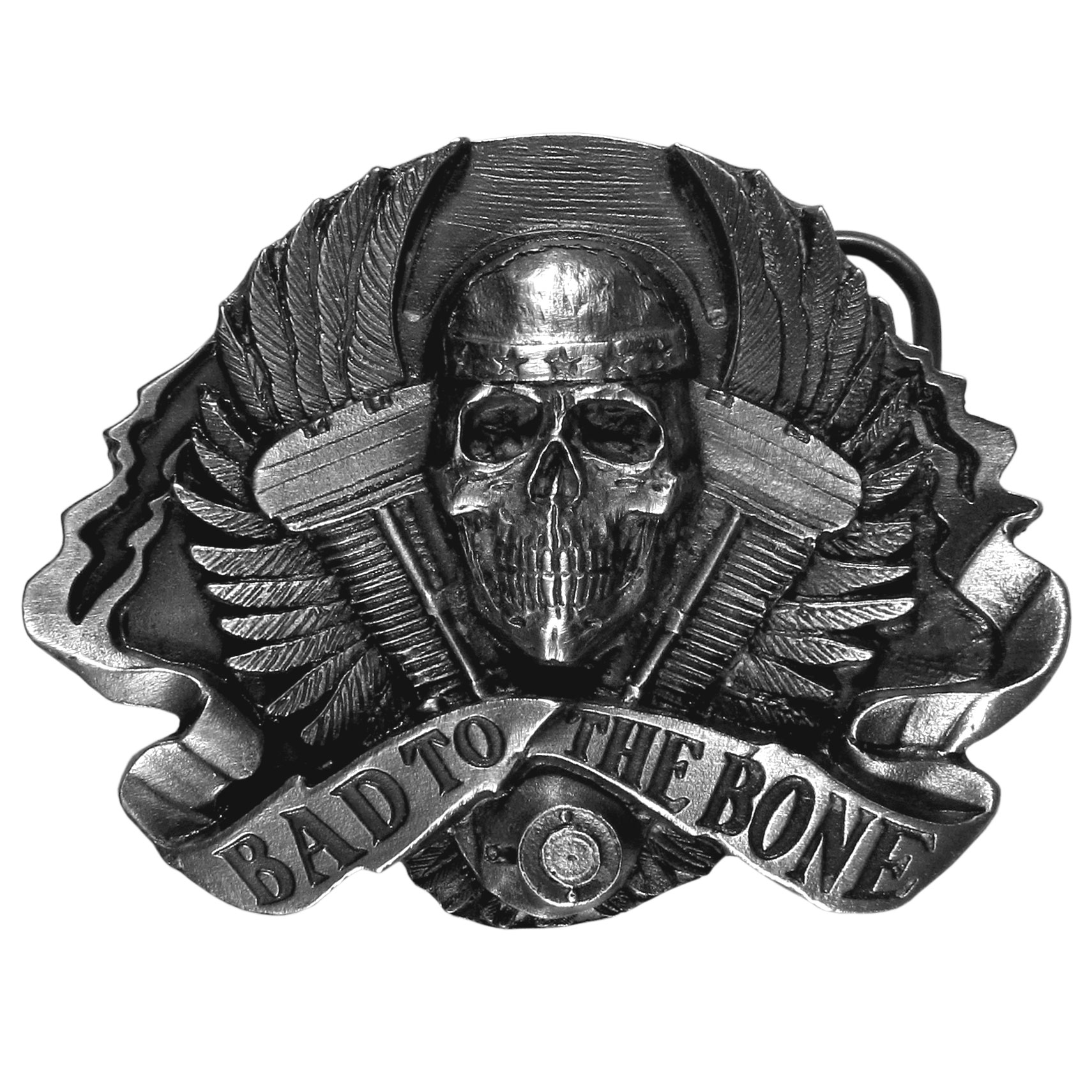"Bad to the Bone Antiqued Belt Buckle - ""Bad to the bone!  This buckle says it all.  It has a skull in the center with wings surrounding it and a banner with """"Bad To The Bone"""" underneath.  This antiqued, carved buckle is made of fully cast metal with a standard bale that fits up to 2"""" belts."""