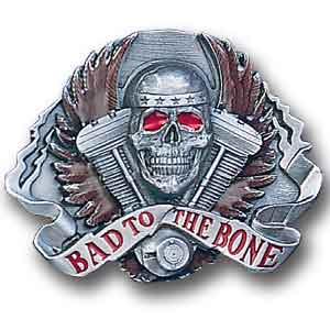 Belt Buckle - Bad to the Bone - This finely sculpted and hand enameled belt buckle contains exceptional 3D detailing. Siskiyou's unique buckle designs often become collector's items and are unequaled with the best craftsmanship.