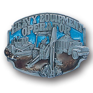 Belt Buckle - Heavy Equipment - This finely sculpted and hand enameled belt buckle contains exceptional 3D detailing. Siskiyou's unique buckle designs often become collector's items and are unequaled with the best craftsmanship.
