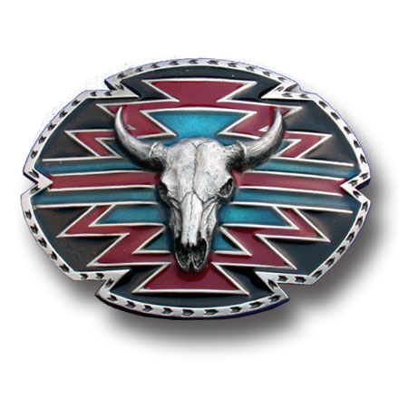 Southwestern Buffalo Skull Belt Buckle - This finely sculpted and hand enameled belt buckle contains exceptional 3D detailing. Siskiyou's unique buckle designs often become collector's items and are unequaled with the best craftsmanship.