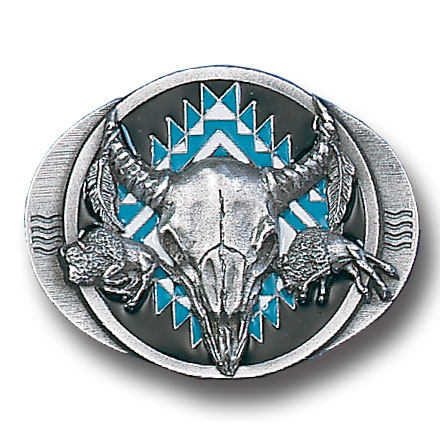 Belt Buckle - Buffalo Skull/Bison  - This finely sculpted and hand enameled belt buckle contains exceptional 3D detailing. Siskiyou's unique buckle designs often become collector's items and are unequaled with the best craftsmanship.