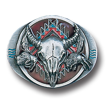 Belt Buckle - Buffalo Skull/ Bison  - This finely sculpted and hand enameled belt buckle contains exceptional 3D detailing. Siskiyou's unique buckle designs often become collector's items and are unequaled with the best craftsmanship.