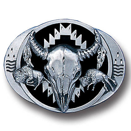Belt Buckle - Buffalo Skull/Bison (Diamond Cut) - This finely sculpted belt buckle contains exceptional 3D detailing and diamond cut accents. Siskiyou's unique buckle designs often become collector's items and are unequaled with the best craftsmanship.