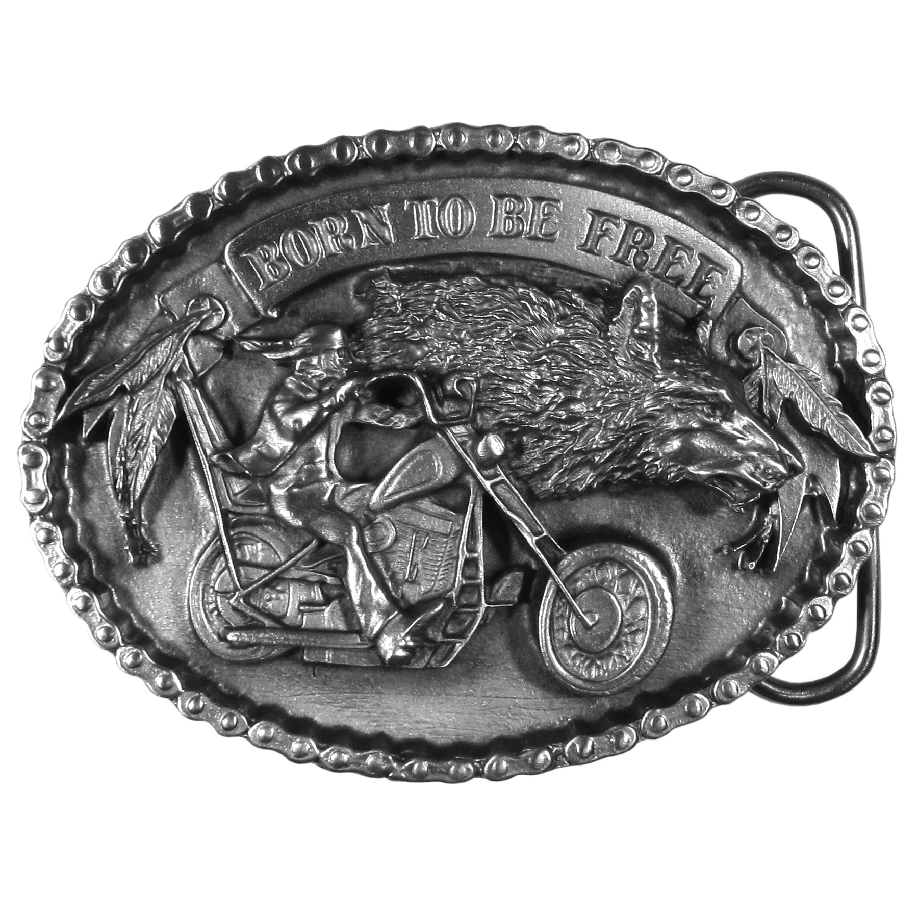 "Born to be Free Antiqued Belt Buckle - ""Do you enjoy your untamed side?  This """"Born To Be Free"""" buckle is for you!  Antiqued buckle has a man riding a motorcycle, as well as a wolf and feathers.  The oval buckle is surrounded by tractor chain and a banner at the top with """"Born To Be Free"""".  This exquistely carved buckle is made of fully cast metal with a standard bale that fits up to 2"""" belts."""
