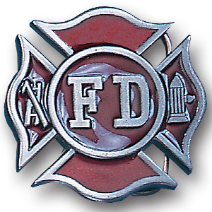 Belt Buckle - Fireman's Cross - This finely sculpted and hand enameled belt buckle contains exceptional 3D detailing. Siskiyou's unique buckle designs often become collector's items and are unequaled with the best craftsmanship.