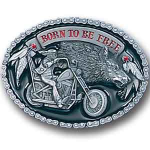 Belt Buckle - Born to be Free - This finely sculpted and hand enameled belt buckle contains exceptional 3D detailing. Siskiyou's unique buckle designs often become collector's items and are unequaled with the best craftsmanship.