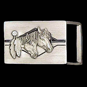 "Belt Buckle - Horse Heads (1 1/4"") - This finely sculpted and enameled belt buckle contains exceptional 3D detailing. Siskiyou's unique buckle designs often become collector's items and are unequaled with the best craftsmanship.  The smaller size is perfect for thinner belts."