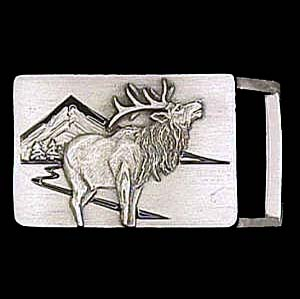 "Belt Buckle - Elk (1 1/4"") - This finely sculpted and enameled belt buckle contains exceptional 3D detailing. Siskiyou's unique buckle designs often become collector's items and are unequaled with the best craftsmanship.  The smaller size is perfect for thinner belts."
