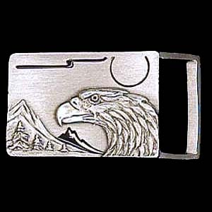 "Belt Buckle - Eagle Head (1 1/4"") - This finely sculpted and enameled belt buckle contains exceptional 3D detailing. Siskiyou's unique buckle designs often become collector's items and are unequaled with the best craftsmanship.  The smaller size is perfect for thinner belts."