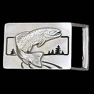 "Belt Buckle - Trout (1 1/4"") - This finely sculpted and enameled belt buckle contains exceptional 3D detailing. Siskiyou's unique buckle designs often become collector's items and are unequaled with the best craftsmanship.  The smaller size is perfect for thinner belts."