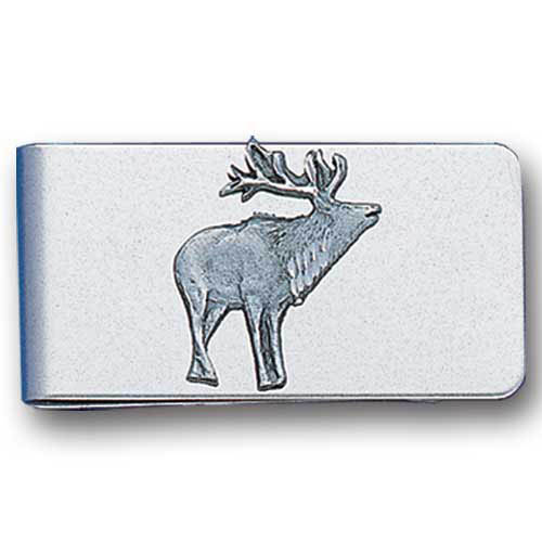 Sculpted Money clip - Free Form Elk - Stainless steel money clip with a detailed emblem featuring a Free Form Elk.
