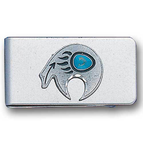 Sculpted Money clip - Bear Fetish - Stainless steel money clip with a detailed emblem featuring a Bear Fetish.