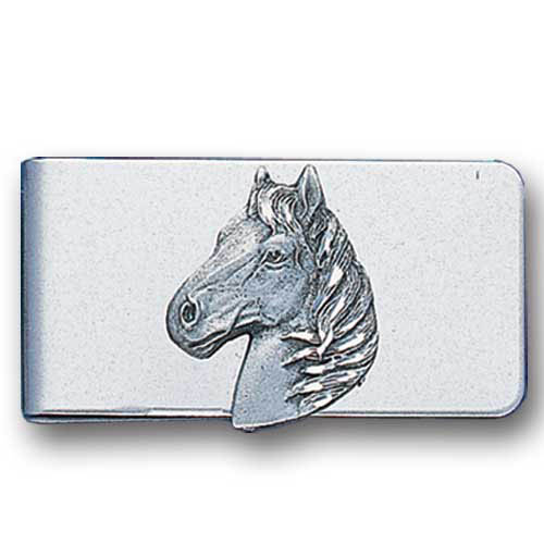 Sculpted Money clip - Free Form Horse Head - Stainless steel money clip with a detailed emblem featuring a Free Form Horse Head.
