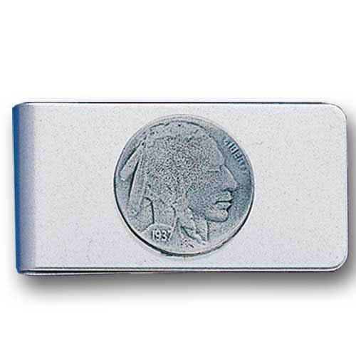Sculpted Money clip - Indian Head Nickel - Stainless steel money clip with a detailed emblem featuring a Indian Head Nickel.