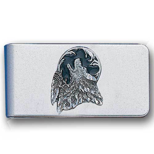 Sculpted Money clip - Wolf Head  - Stainless steel money clip with a detailed emblem featuring a Wolf Head.