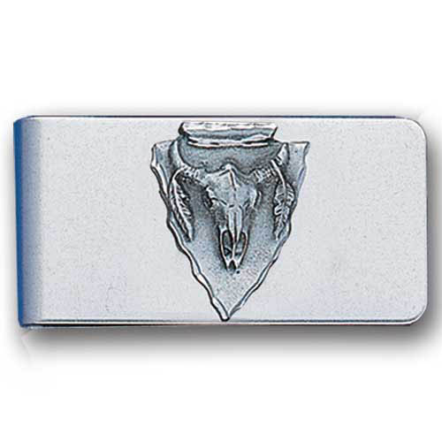Sculpted Money clip - Arrowhead Buffalo Skull - Stainless steel money clip with a detailed emblem featuring a Arrow Head Buffalo Skull.