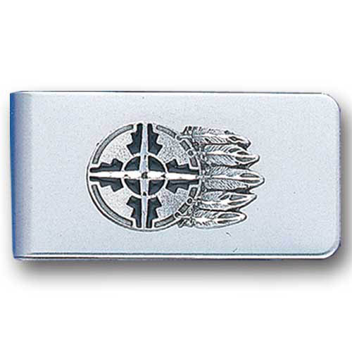 Sculpted Money clip - Shield & Feathers - Stainless steel money clip with a detailed emblem featuring a Shield & Feathers.