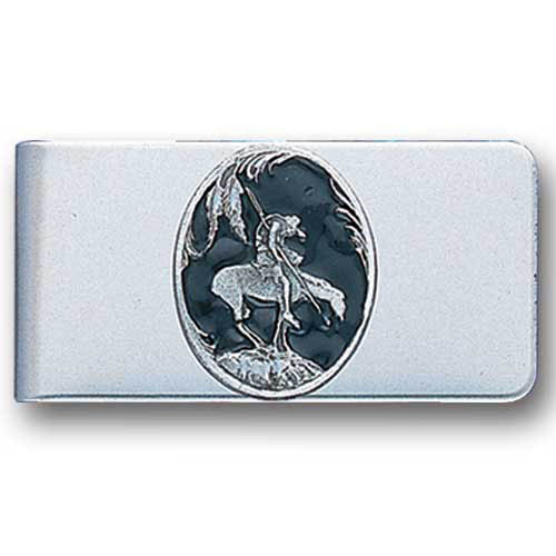 Sculpted Money clip - End Of The Trail - Stainless steel money clip with a detailed emblem featuring a End Of The Trail.