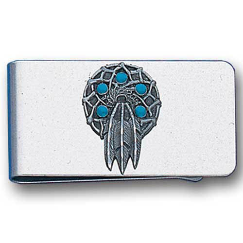 Sculpted Money clip - Dream Catcher - Stainless steel money clip with a detailed emblem featuring a Dream Catcher.