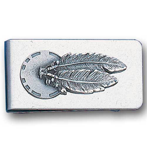 Sculpted Money clip - Concho & Feathers - Stainless steel money clip with a detailed emblem featuring a Concho & Feather.