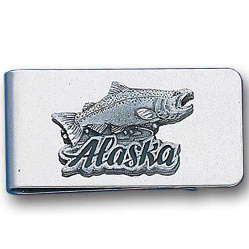 Sculpted Money clip - Alaska Fish - Stainless steel money clip with a detailed emblem featuring a Alaska Fish.