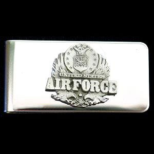 Sculpted Money clip - Air Force  - Show your respect for America's fighting forces with this hand painted money clip. Semper Fi.