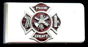 Sculpted Money clip - Fire Fighter Cross - The Maltese Cross signifies the bravery and dedication of America's firefighters. This intricate, hand painted emblem looks great every time you pull out your cash.
