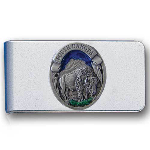 Bison Money Clip - Stainless steel money clip featuring a detailed Bison emblem.