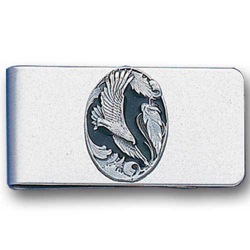 Sculpted Money clip - Eagle in Oval - Stainless steel money clip with a detailed emblem featuring a Eagle in Oval.