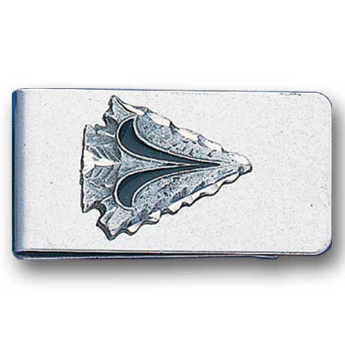 Sculpted Money clip - Arrowhead - Stainless steel money clip with a detailed emblem featuring an Arrowhead.