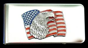 Sculpted Money clip - American Flag with Eagle Head - Show your pride every time you take out your cash with this hand painted money clip.