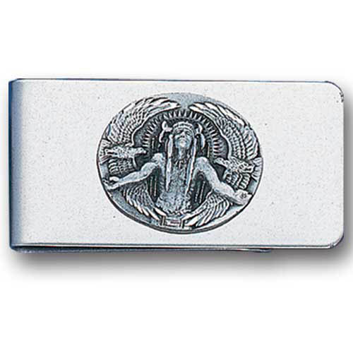 Sculpted Money clip - Indian Great Spirit - Stainless steel money clip with a detailed emblem featuring an Indian Great Spirit.