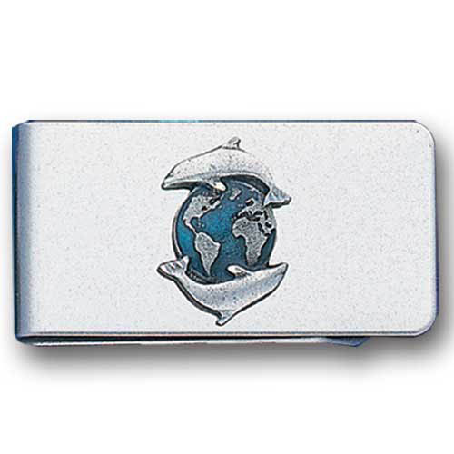 Sculpted Money clip - Dolphins & Earth - Stainless steel money clip with a detailed emblem featuring a Dolphins & Earth emblem.