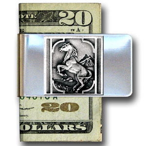 Large Money Clip - Rearing Horse - Our stainless steel money clips feature a 3D carved finely detailed square. Check out our entire line of  money clips!