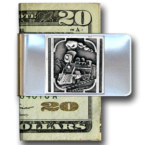 Large Money Clip - Train - Our stainless steel money clips feature a 3D carved finely detailed square. Check out our entire line of  money clips!