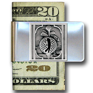 Golf Large Money Clip - Golf Theme - Our golf stainless steel money clips feature a 3D carved finely detailed square. This Golf theme large money clip is a great product for that golf expert or golf fan ! Check out all our other great NFL, NCAA, MLB ,NHL product line up. Thank you for shopping Crazed Out Sports!!