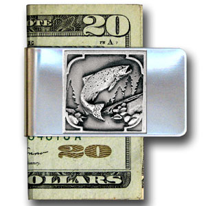 Large Money Clip - Fish - Our stainless steel money clips feature a 3D carved finely detailed square. Check out our entire line of  money clips!