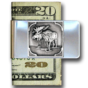 Large Money Clip - Moose - Our stainless steel money clips feature a 3D carved finely detailed square. Check out our entire line of  money clips!