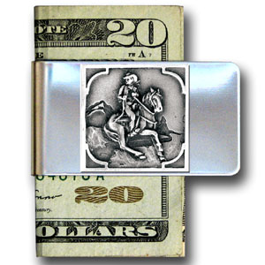 Large Money Clip - Cowboy - Our stainless steel money clips feature a 3D carved finely detailed square. Check out our entire line of  money clips!