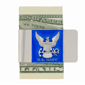 Large Navy Money Clip - Our armed forces money clips feature a hand painted square. A great way to show your patriotic spirit! Check out our entire line of  armed forces merchandise!