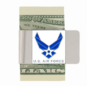 Large Air Force Money Clip - Our armed forces money clips feature a hand painted square. A great way to show your patriotic spirit! Check out our entire line of  armed forces merchandise!