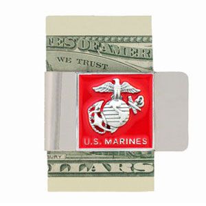 Large Marines Money Clip - Our armed forces money clips feature a hand painted square. A great way to show your patriotic spirit! Check out our entire line of  armed forces merchandise!