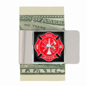 Large Fire Fighter Money Clip - Our fire fighter money clips feature a hand painted square. A great way to show your support for our brave fire fighters! Check out our entire line of  fight fighter merchandise!