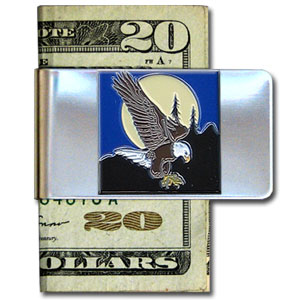Large Money Clip - Flying Eagle - Our stainless steel money clips feature a 3D carved finely detailed square. Check out our entire line of  money clips!