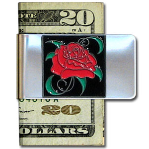 Large Money Clip - Rose - Our stainless steel money clips feature a 3D carved finely detailed square. Check out our entire line of  money clips!