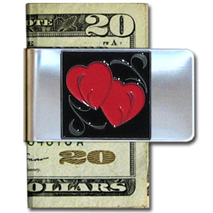 Large Money Clip - Double Heart - Our stainless steel money clips feature a 3D carved finely detailed square. Check out our entire line of  money clips!