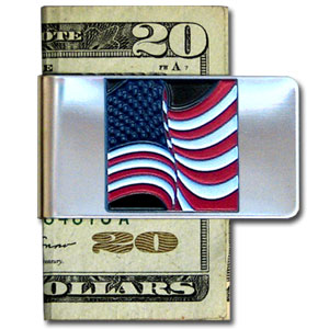 Large Money Clip - American Flag - Our stainless steel money clips feature a 3D carved finely detailed square. Check out our entire line of  money clips!