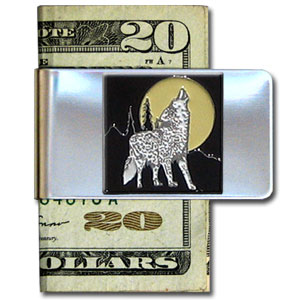 Large Money Clip - Howling Wolf - Our stainless steel money clips feature a 3D carved finely detailed square. Check out our entire line of  money clips!
