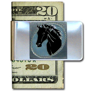 Large Money Clip - Horse Head - Our stainless steel money clips feature a 3D carved finely detailed square. Check out our entire line of  money clips!