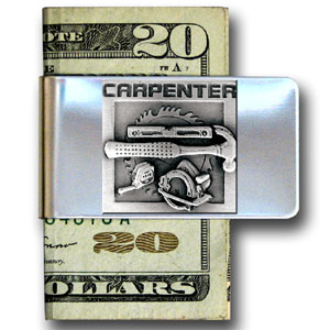 Large Money Clip - Carpenter - Our stainless steel money clips feature a 3D carved finely detailed square. Check out our entire line of  money clips!